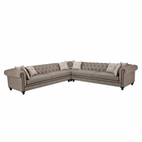 Jar Design Alphonse Grey Tufted Sectional Free Shipping Today  sc 1 st  Aecagra.org : grey tufted sectional sofa - Sectionals, Sofas & Couches