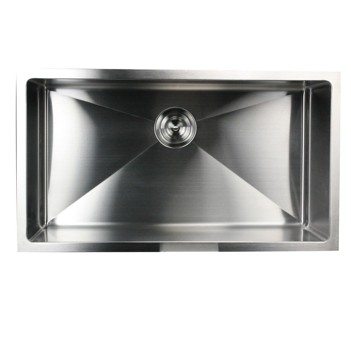 32 inch small radius undermount 16 gauge stainless steel kitchen sink with drain