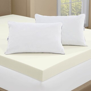 Serta 4 Inch Memory Foam Mattress Topper With 2 Pillows