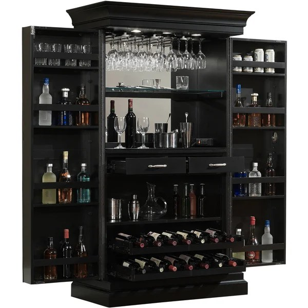 Shop Ashley Heights Black Stain Home Bar Wine Cabinet On
