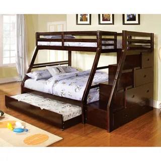 Dark Walnut Finish Twin Over Full Bunk Bed