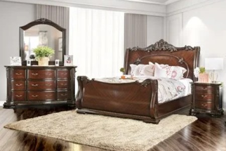 Buy Bedroom Sets Online at Overstock com   Our Best Bedroom     Furniture of America Luxury Brown Cherry 4 Piece Baroque Style Bedroom Set