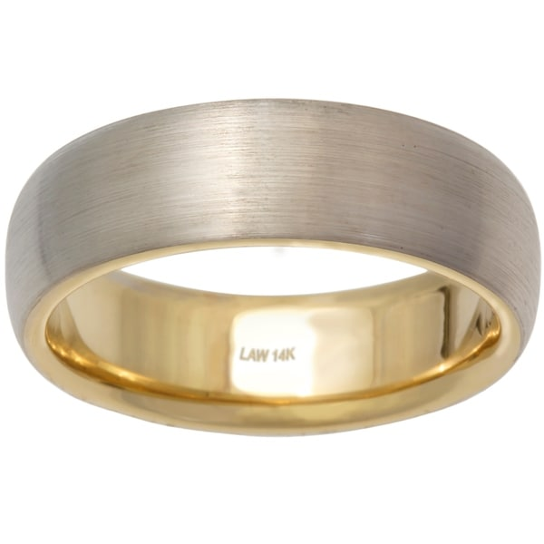 Shop 14K Two Tone Gold Mens Comfort Fit Handmade Wedding