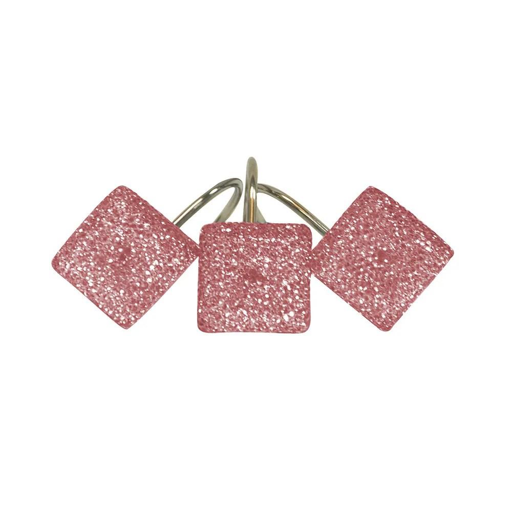 crystal pink shower curtain hooks set of 12