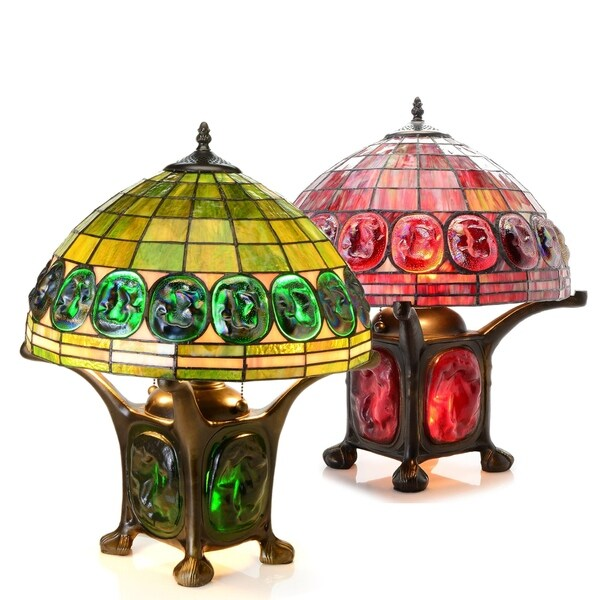 tiffany style mika turtleback double lit table lamp optional colors