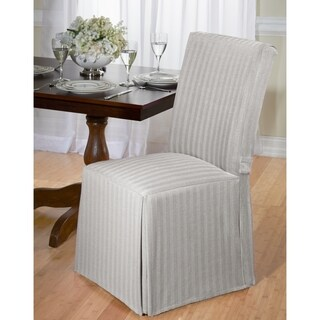 Damask Print Ruffled Dining Chair Slipcovers Set Of 2
