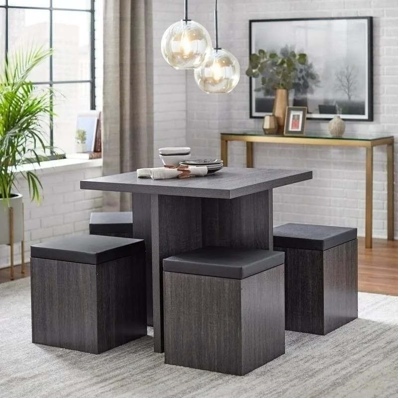 Shop Simple Living 5 Piece Baxter Dining Set With Storage Ottomans On Sale Overstock 9570455