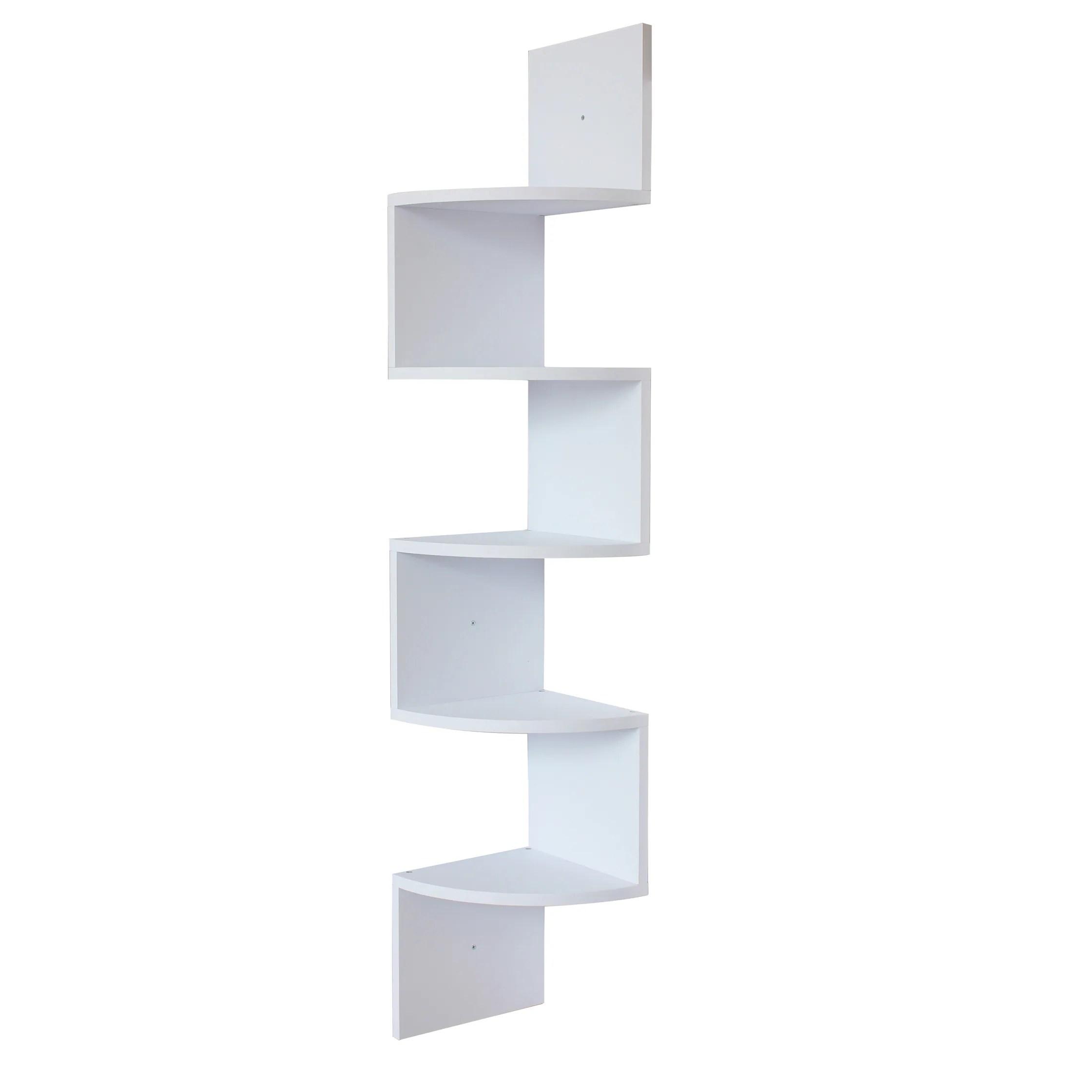 White Finish Large Corner Wall Mount Zig Zag Wallmount Shelf