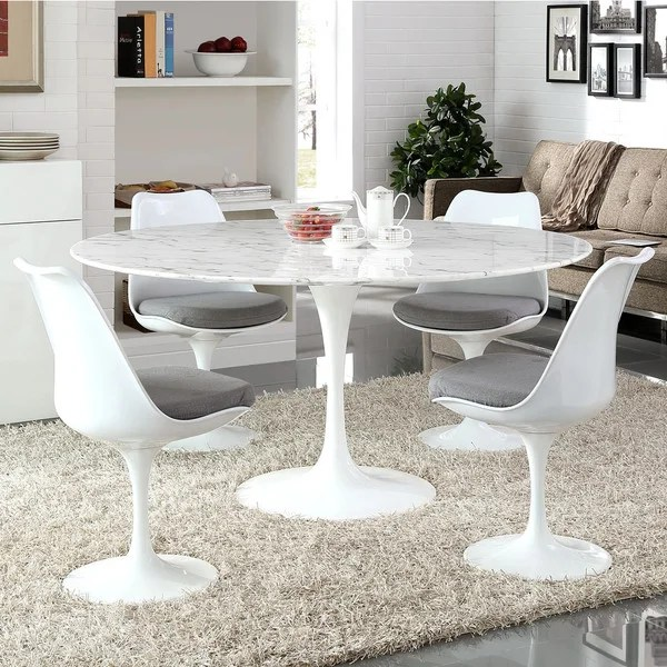 Shop Lippa 60 Inch Round Marble Dining Table White