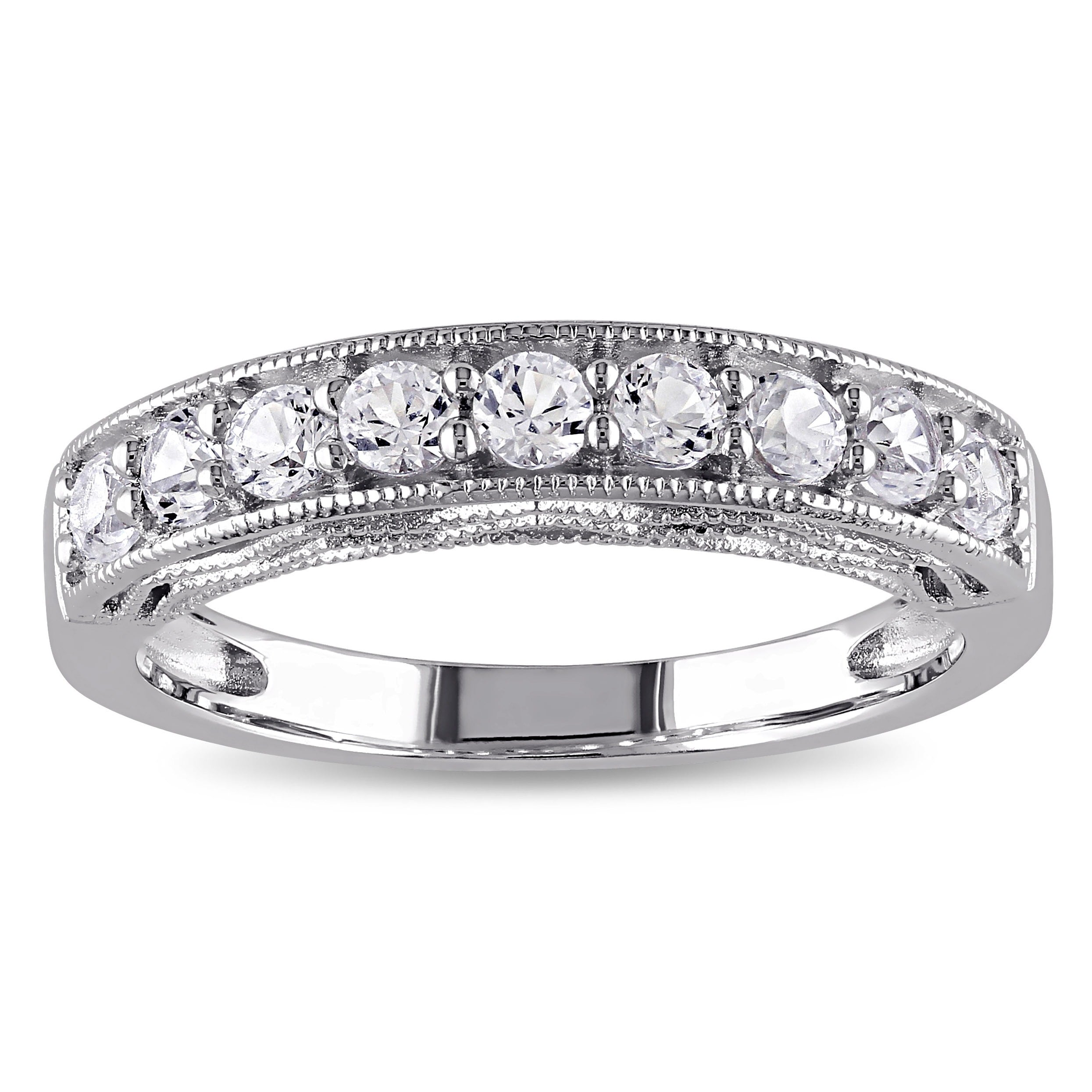 Shop Miadora Sterling Silver Created White Sapphire Stackable Anniversary Band Ring On Sale Overstock 9664692