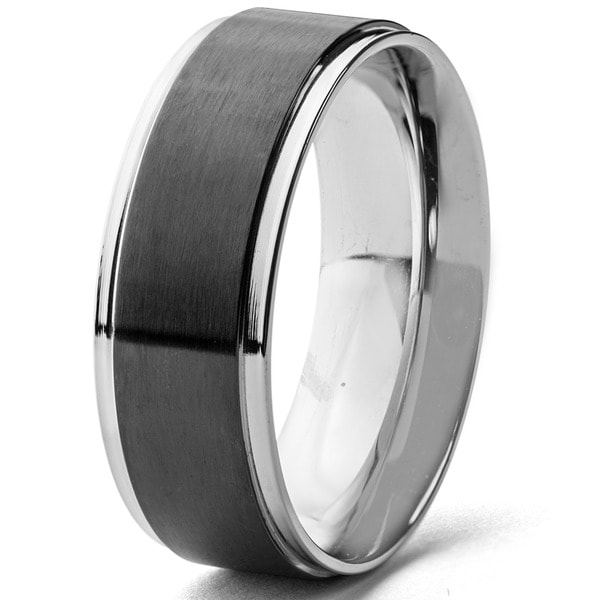 Shop Mens Stainless Steel Blackplated Brushed Center