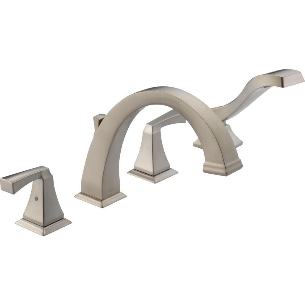 delta dryden deck mounted roman tub faucet trim with lever handles brilliance stainless
