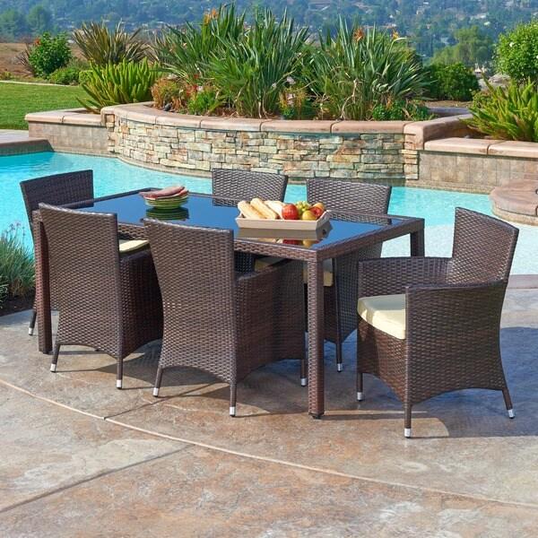 7 piece outdoor wicker patio dining sets Shop the-Hom Rica 7-piece Outdoor Wicker Dining Set - Free
