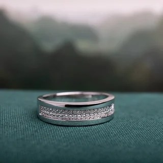 miadora sterling silver men s 1 10ct tdw diamond wedding band