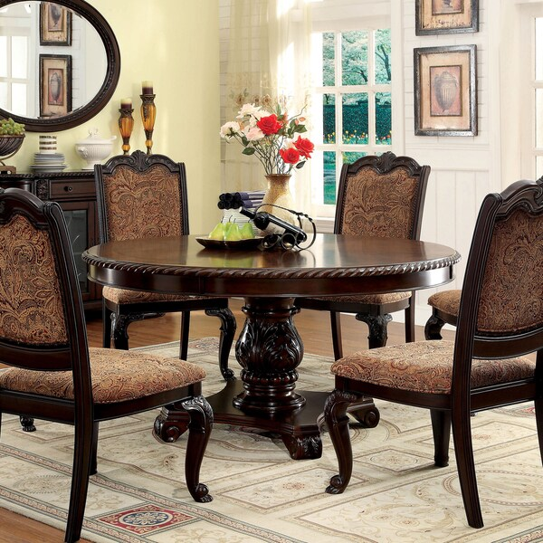 Furniture Of America Oskarre Brown Cherry Round Dining