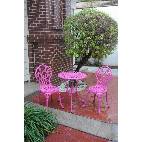 Shop Somette Pink Tulip Cast Aluminum Outdoor 3 Piece - Christopher Knight Patio Furniture