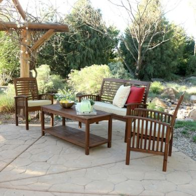 Shop 4 piece Acacia Wood Patio Conversation Set   Free Shipping     4 piece Acacia Wood Patio Conversation Set