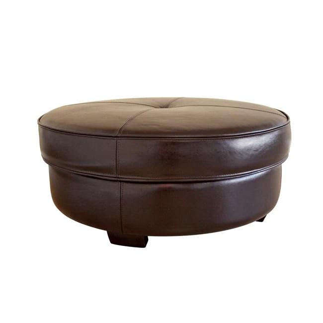 Large Round Leather Ottoman