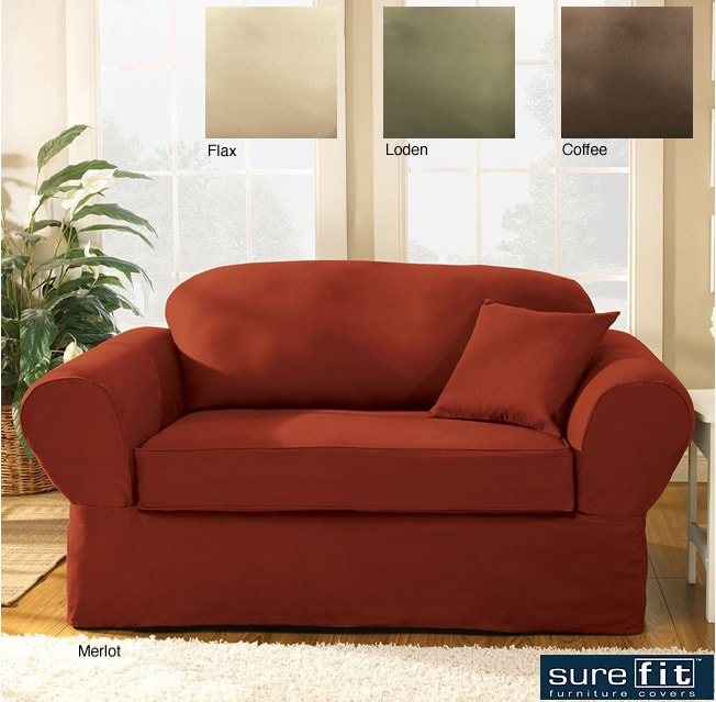 shop sure fit 2 piece supreme twill sofa slipcover free shipping today overstock 2620793