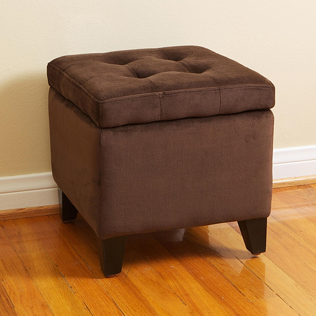 Tufted Chocolate Brown Microfiber Storage Ottoman Free