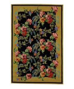 Hand-hooked Midnight Garden Black Wool Rug (5'3 x 8'3)