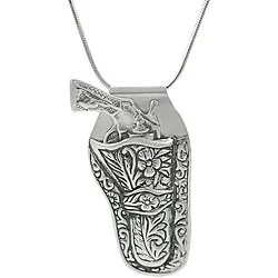 Sterling Silver Gun in Holster Necklace