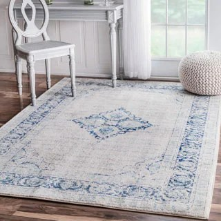 NuLOOM Vintage Flower Medallion Light Blue Rug 9 X 12 Free Shipping Today
