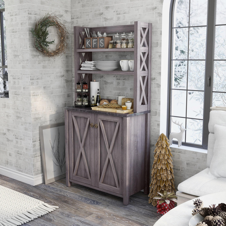 furniture of america figg rustic grey multi shelf microwave cabinet