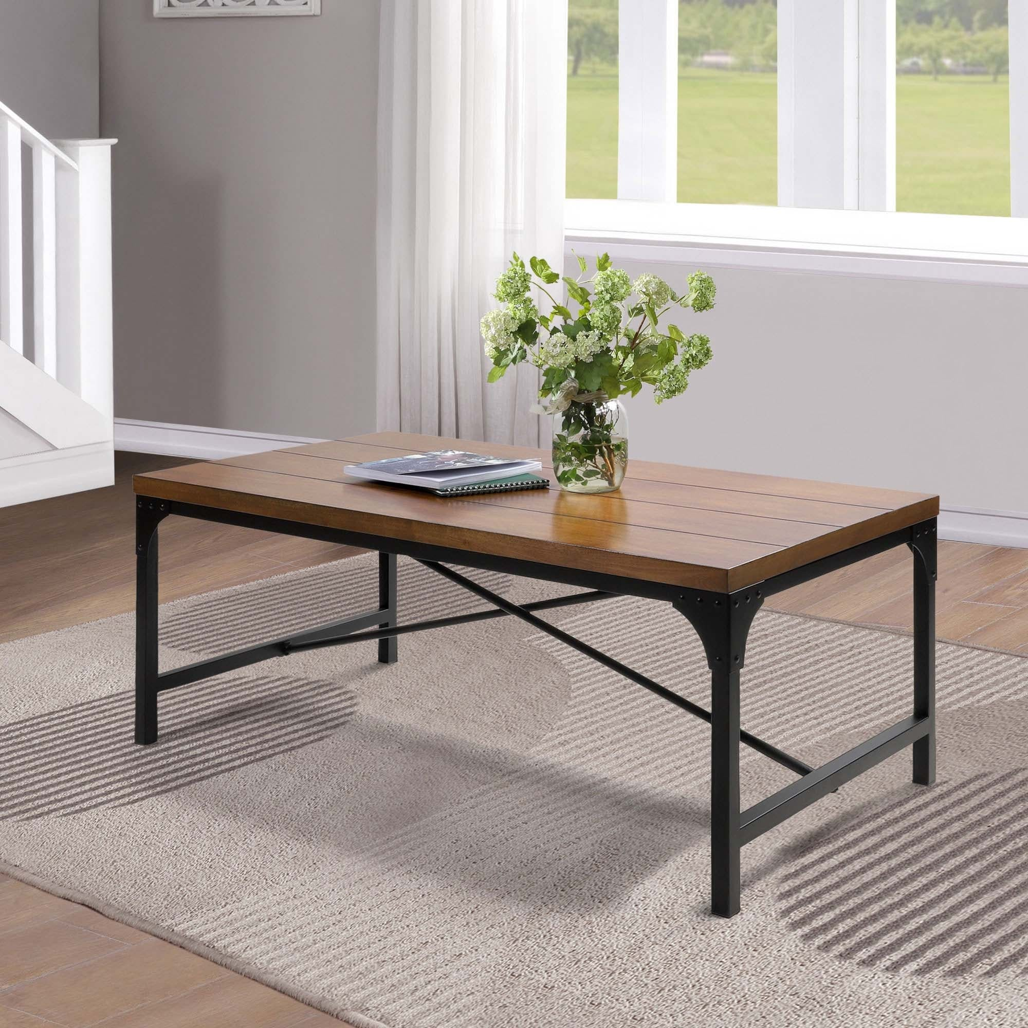 modern industrial black coffee table antique wood and metal for living room