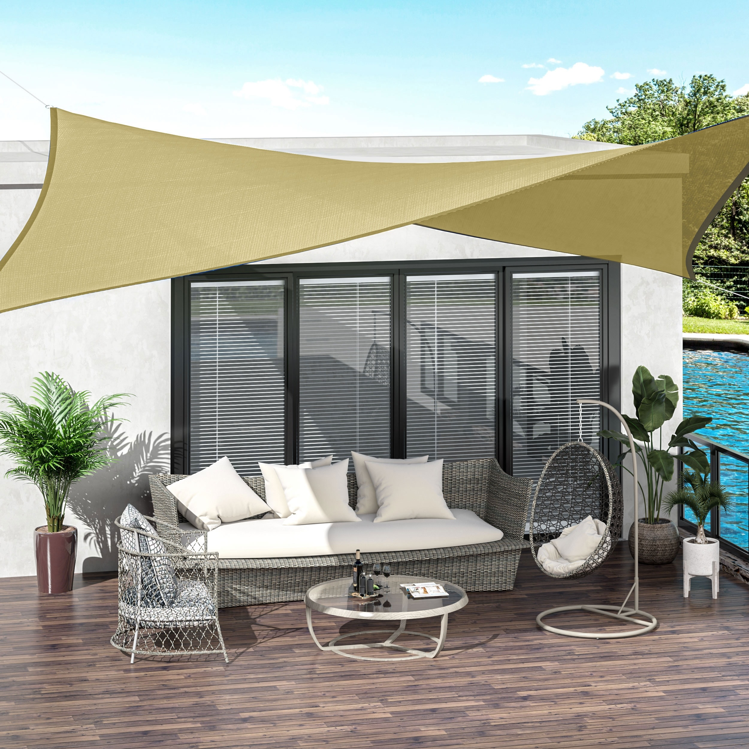 outsunny 20 x 16 rectangle outdoor patio sun shade sail canopy