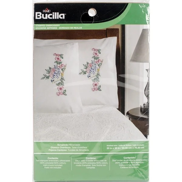 shop stamped embroidery pillowcase pair 20 x30 songbirds free shipping on orders over 45 overstock com 17236012