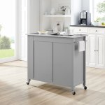 Savannah Stainless Steel Top Full Size Kitchen Island Cart 37 H X 42 W X 18 25 D Overstock 31104184