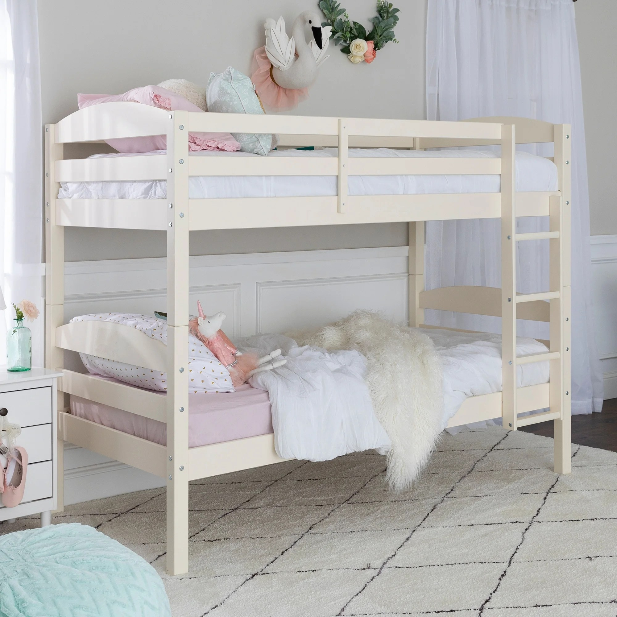 Taylor Olive Christian Off White Wood Twin Over Twin Bunk Bed On Sale Overstock 6372467