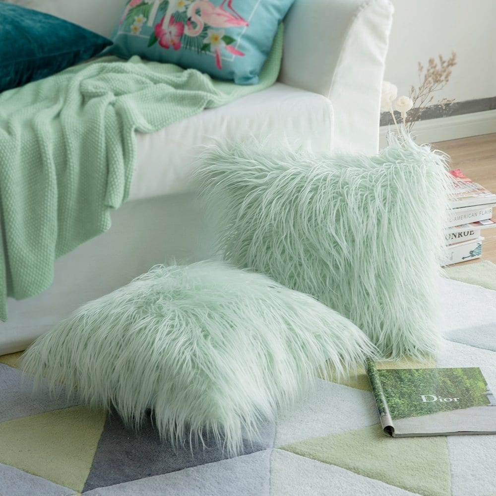 water green faux fur pillow case cushion cover for sofa 16x 16 inch
