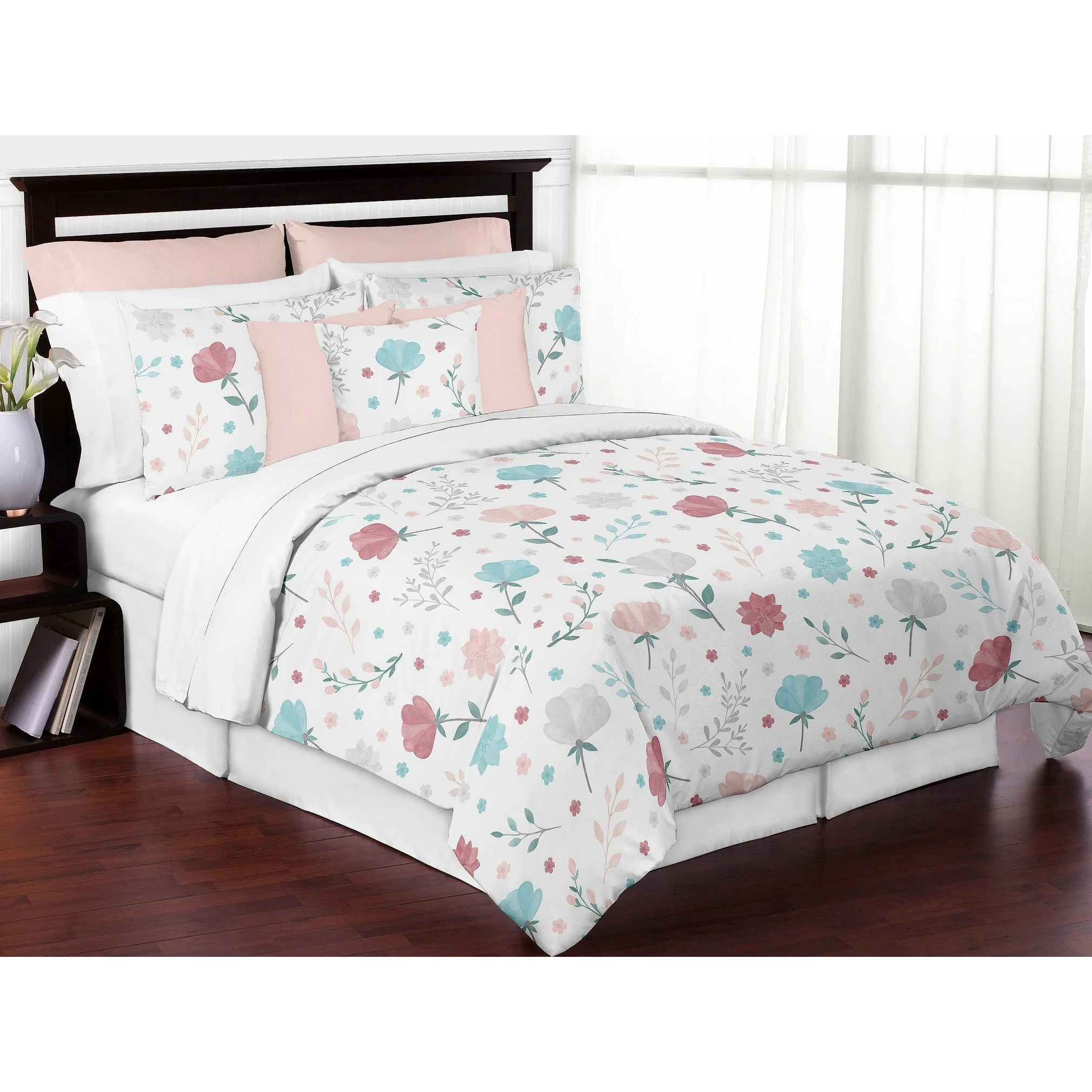 pop floral rose flowers girl 3pc full queen comforter set blush pink teal turquoise aqua blue grey boho shabby chic watercolor