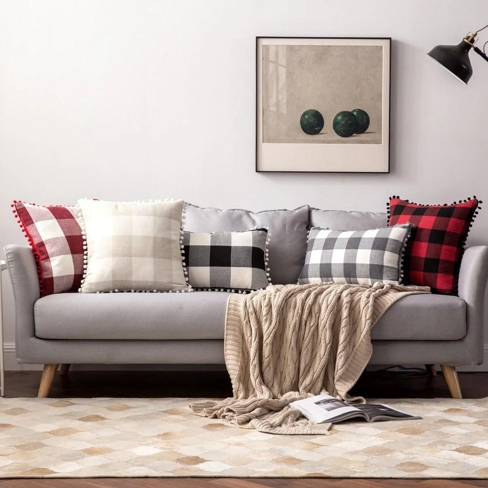 buffalo check pillow covers black and white plaid pom pom decorative throw pillow covers 18 x 18