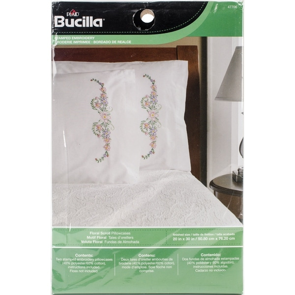 stamped embroidery pillowcase pair 20 x30 floral scroll