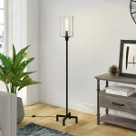 Shop Black Friday Deals On Pantheo Industrial Farmhouse Metal Floor Lamp With Seeded Glass Shade Overstock 20861465