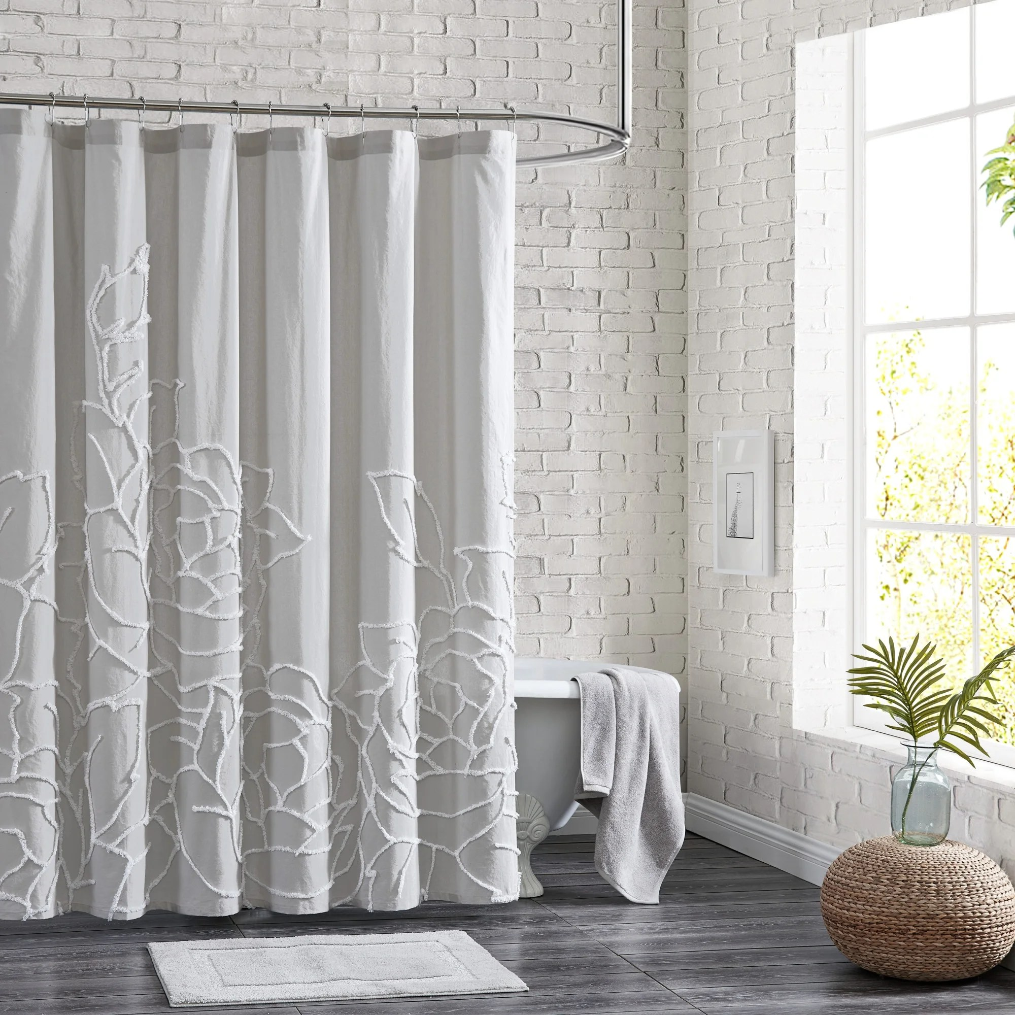 adalee rose chenille tufted floral shower curtain