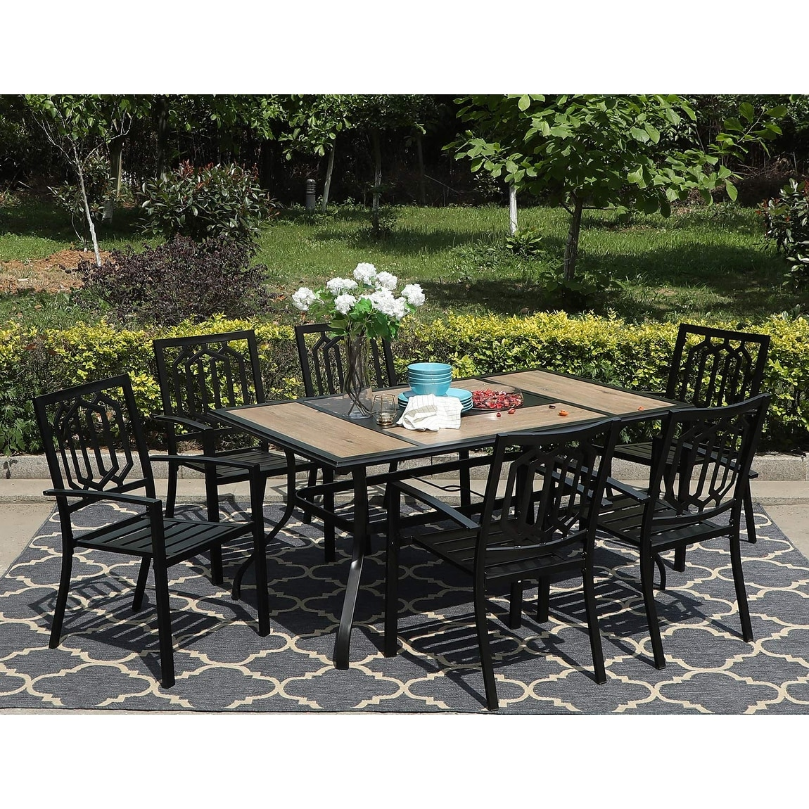 sophia william 7 pieces patio dining set steel outdoor furniture set with 6 steel garden chairs and 1 patio umbrella table