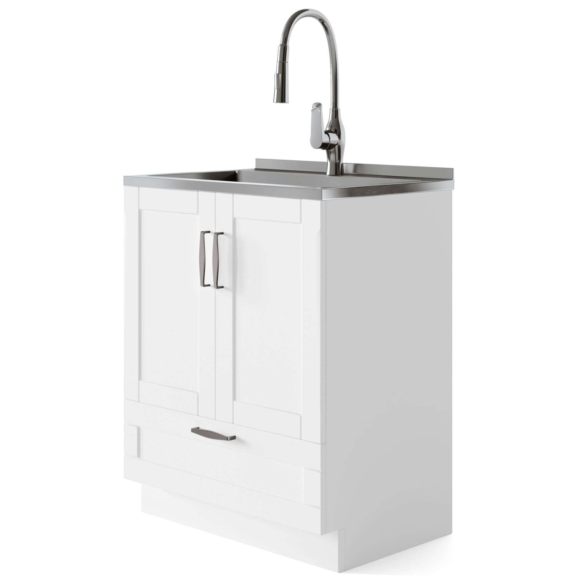 wyndenhall alma transitional 28 inch laundry cabinet with pull out faucet and stainless steel sink