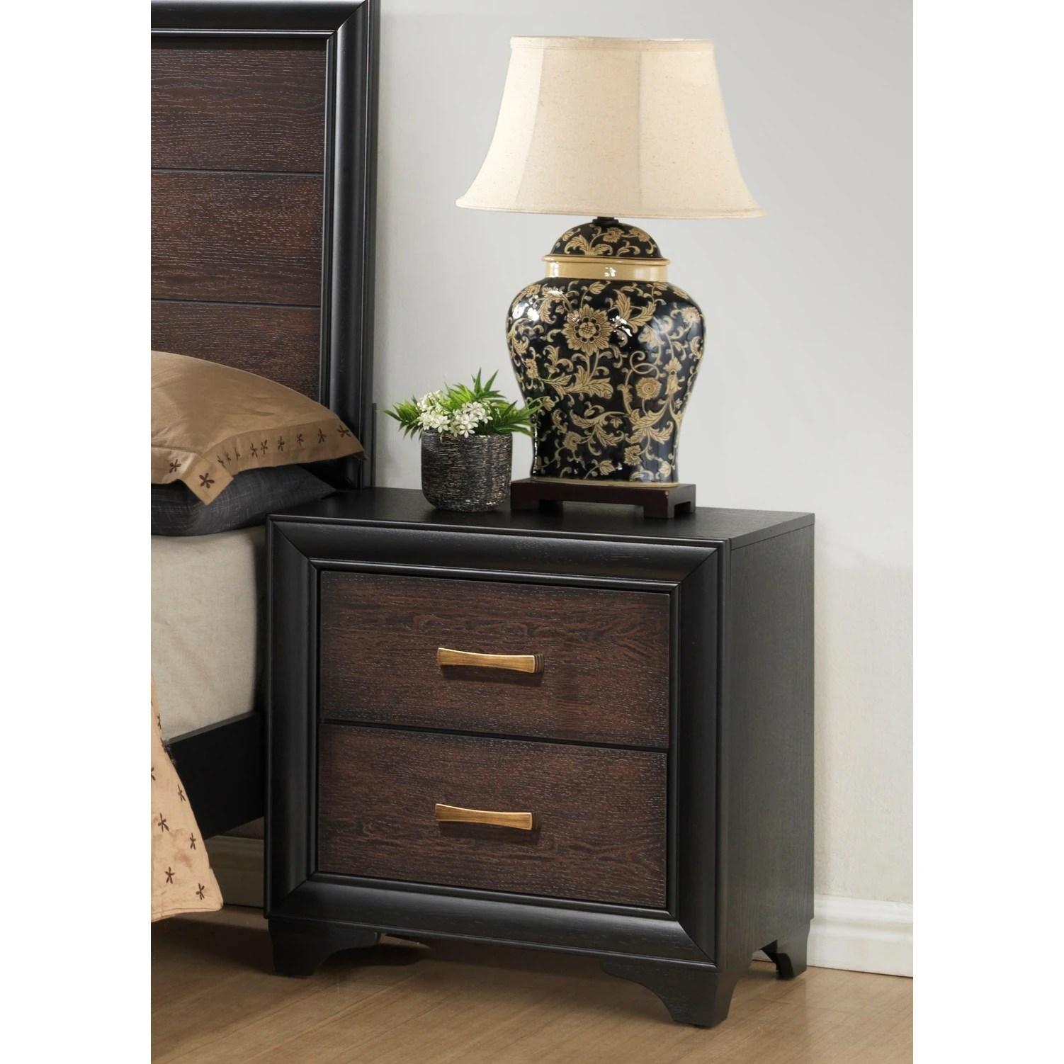 strick bolton diego black brown 2 drawer nightstand