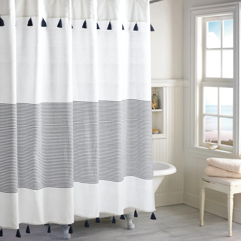 porch den onassis modern stripe tassel shower curtain