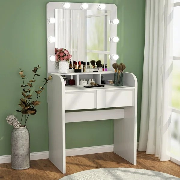 vanity table set with lighted mirror 2