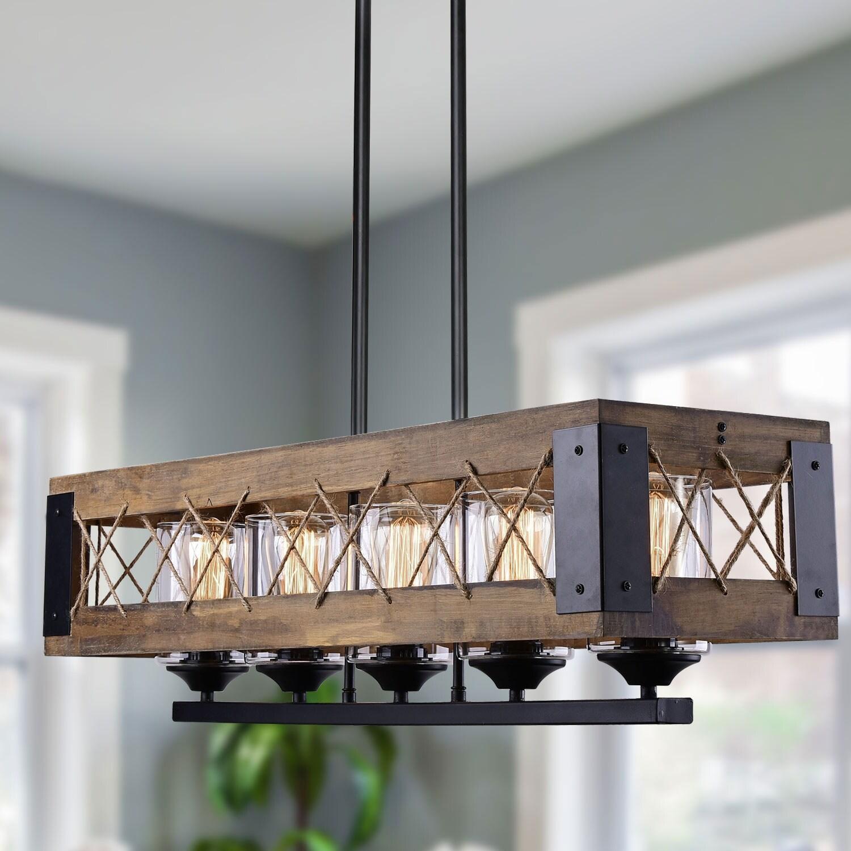 modern farmhouse black 5 light wood chandelier rustic dining room pendant lighting w31 9 x e10 6 x h10 2