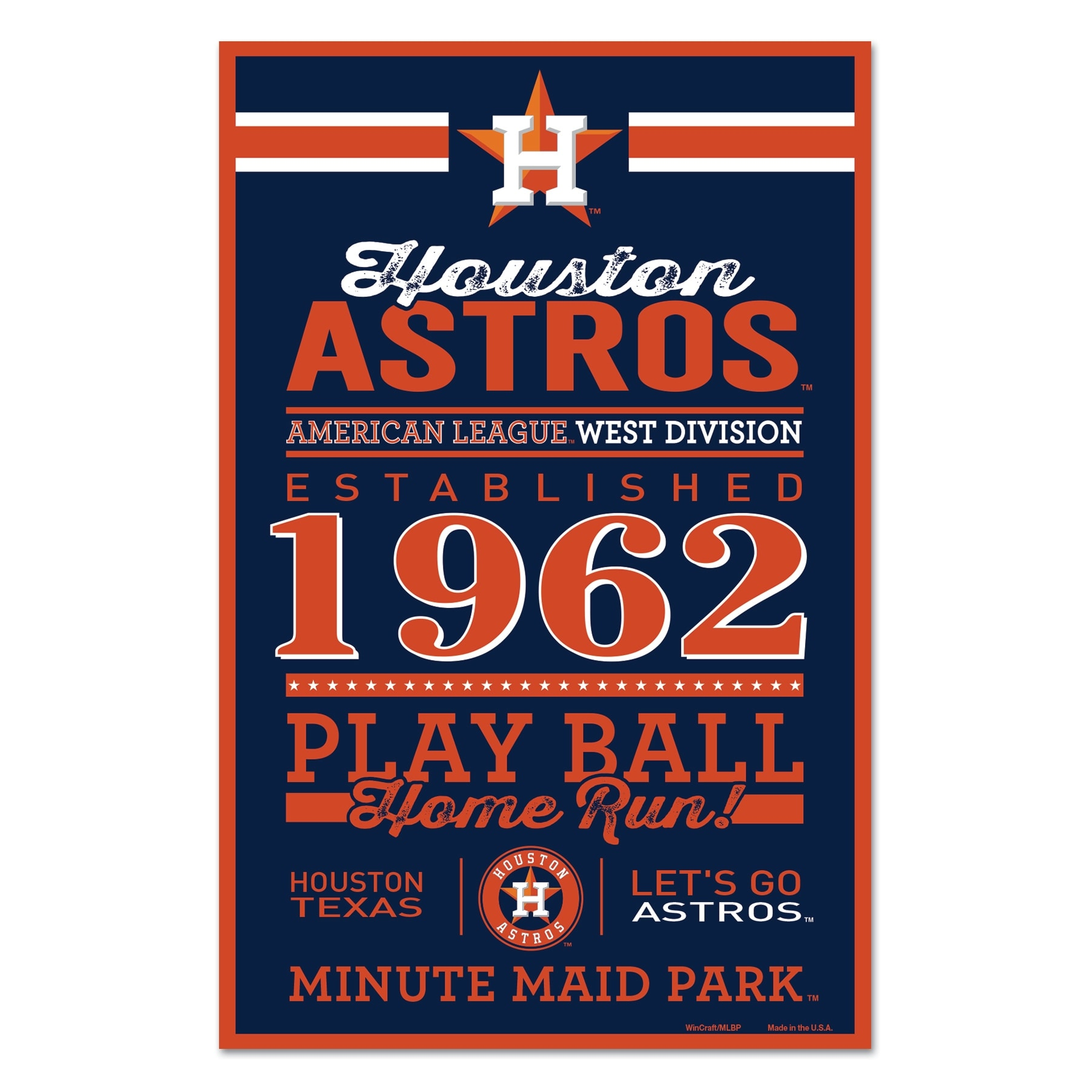 Shop Houston Astros Sign 11x17 Wood Established Design Overstock 27572443