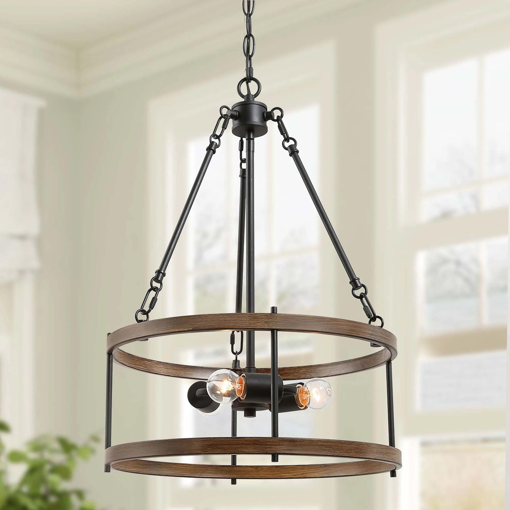 modern rustic 3 light brown faux wood grain metal drum pendant lighting for kitchen w15 8 xh22 8