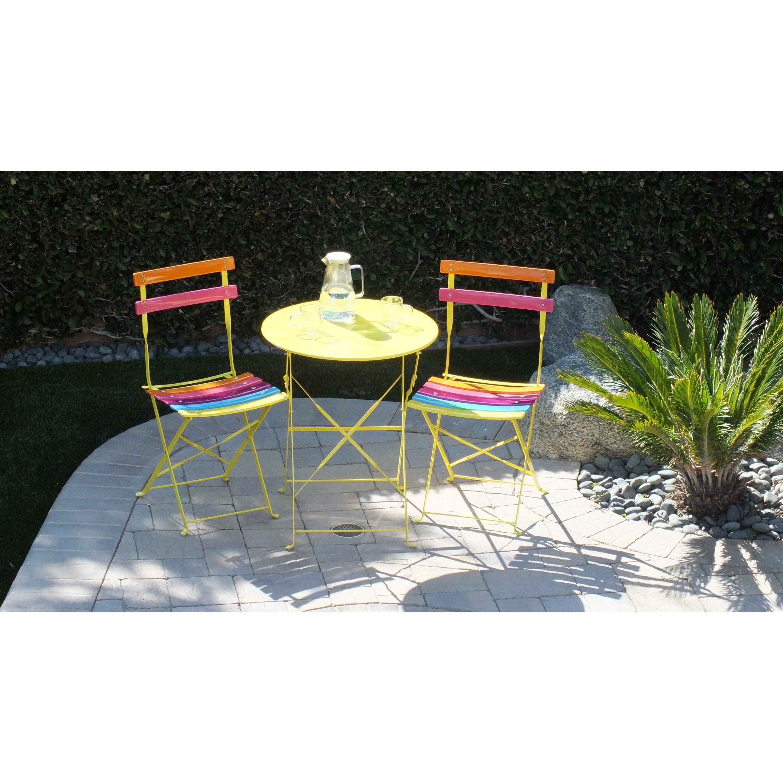 Alpine Corporation Indoor Outdoor 3 Piece Bistro Set Folding Table And Chairs Patio Seating Rainbow Overstock 27961467