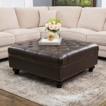 Abbyson Frankfurt Tufted Brown Leather Ottoman Overstock 6772235