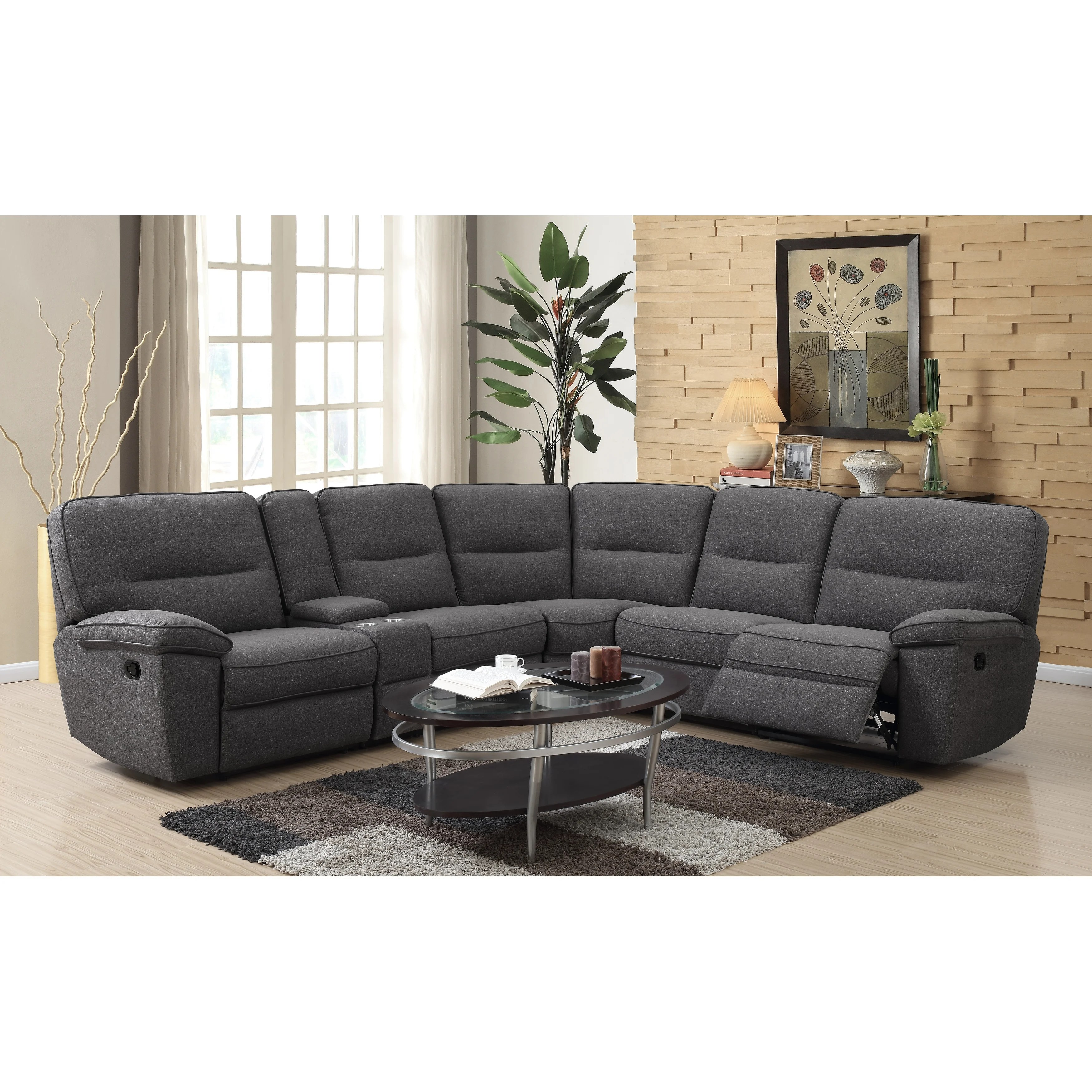 strick bolton crosby charcoal modular reclining sectional